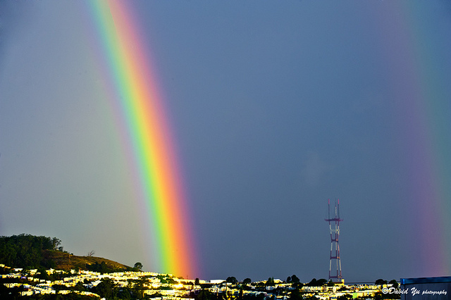 San Francisco lucky double rainbow by David Yu